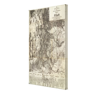 West's New Sectional and Topographical Map Of Utah Stretched Canvas Print