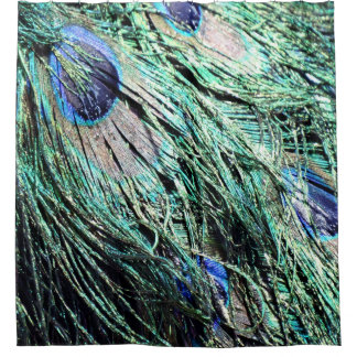 Wet Peafowl Feathers Shower Curtain