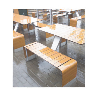 Wet tables outdoor cafe notepad