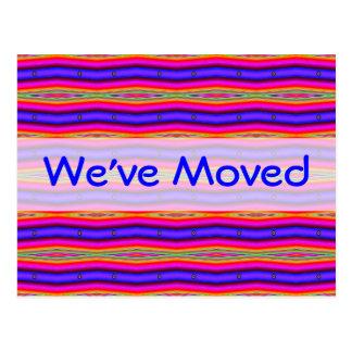 We've Moved bright pink blue Postcard