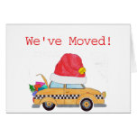 We've Moved Christmas yellow cab Greeting Card