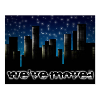 we've moved cityscape announcement postcard
