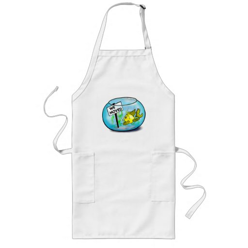We've Moved funny cute goldfish fish tank cartoon Apron