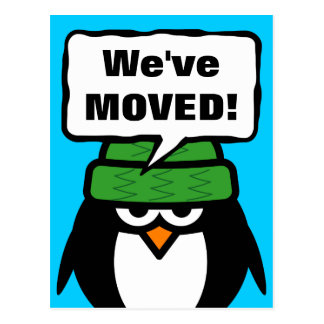 We've moved moving postcards with funny penguin