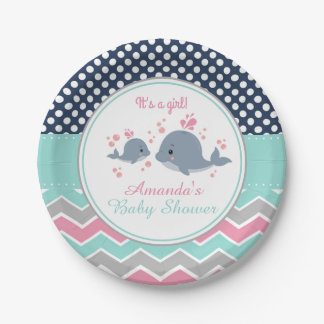 Whale Baby Shower Paper Plate Girl Chevron Polka 7 Inch Paper Plate