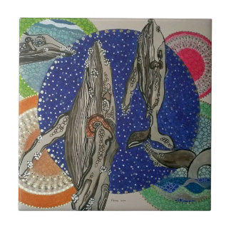 Whale family small square tile