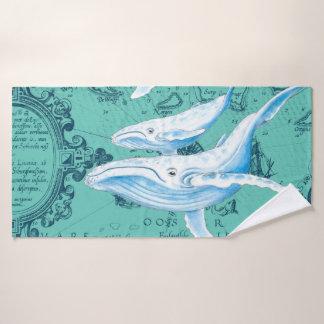 Whale Family Teal Bath Towel Set