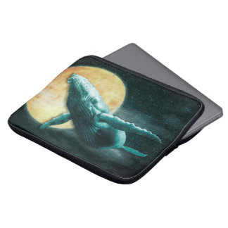 Whale Flying to The Moon Neoprene Laptop Sleeve