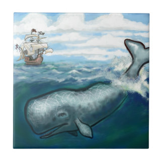 Whale Ho Small Square Tile