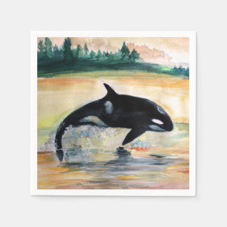 Whale Jumping Orca Standard Cocktail Paper Napkins