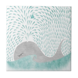 """Whale Love""Tile Small Square Tile"