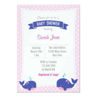 Whale Ocean Baby Shower Invitation Polka Dot Pink