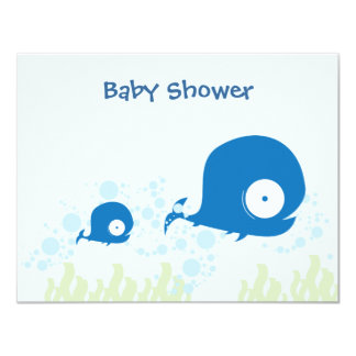 Whale Organic Planet Baby Shower Invitaitons Invites