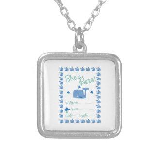 Whale Pregnancy Announcement Square Pendant Necklace