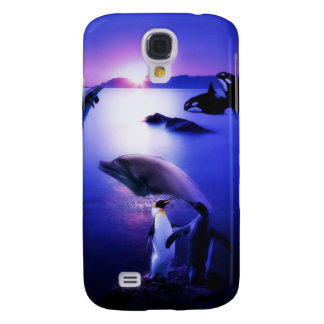 Whales dolphins penguins ocean sunset galaxy s4 case