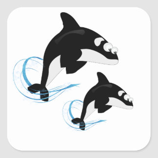 whales square sticker