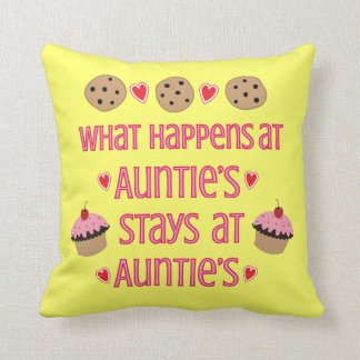 What happens at Auntie's Throw Pillow