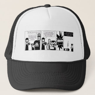 What happens at the bachelor party... trucker hat