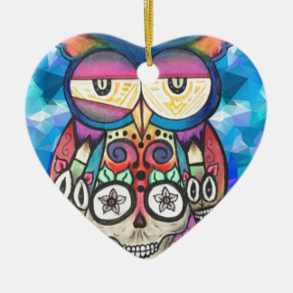 What the hoot? ceramic heart decoration