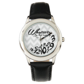 whatever, I'm late anyway - grey & white chevron Wristwatch