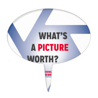 """""""What's a Picture Worth?"""" Merchandise Cake Topper"""