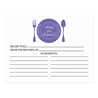 What's for Dinner Bridal Shower Recipe Cards