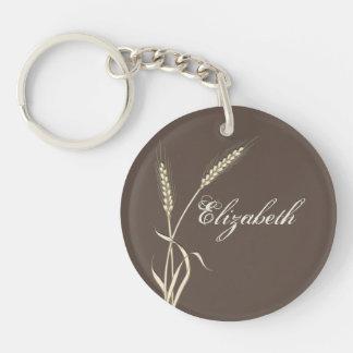 Wheat country wedding single grass key ring