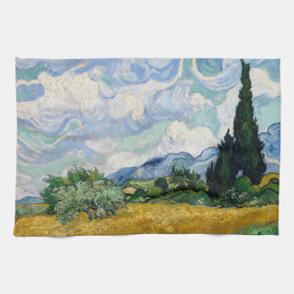 Wheat Field with Cypresses Kitchen Towel