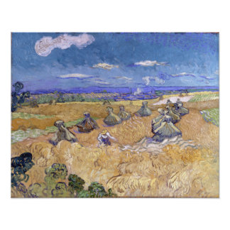 Wheat Fields with Reaper by Vincent Van Gogh Photo Print