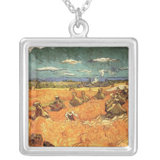 wheat Stacks with Reaper by Vincent van Gogh Silver Plated Necklace