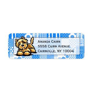 Wheaten Cairn Terrier Studio Blue Patchwork Return Address Label