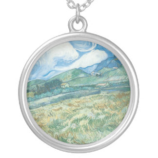 Wheatfields with Mountain in the Background Silver Plated Necklace