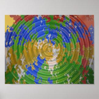 Wheel Chakra : Green Waves Cosmos Decorations Poster
