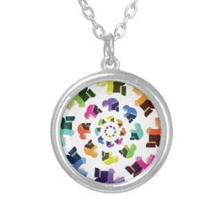 Wheel of Parkas Round Pendant Necklace