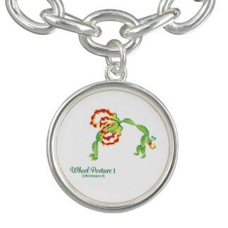 (Wheel Posture I) Round Charm Bracelet , Silver