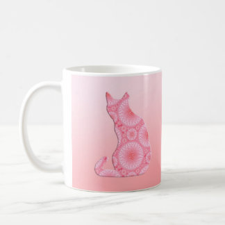 """Wheels of Light"" Cat - coral pink Coffee Mug"