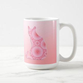 """Wheels of Light"" Cat - coral pink Basic White Mug"