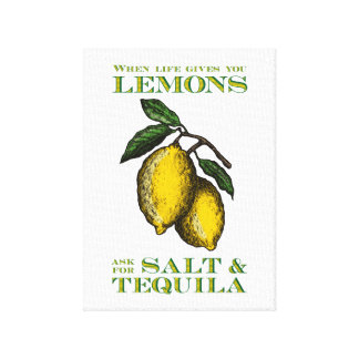 When life gives you lemons - Vintage style Gallery Wrapped Canvas