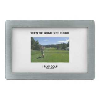 When The Going Gets Tough I Play Golf (Golfer) Rectangular Belt Buckle