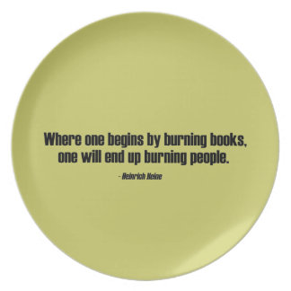 Where One Begins By Burning Books Plate
