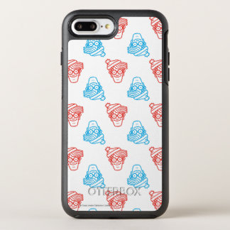 Where's Waldo Red and Blue Face Pattern OtterBox Symmetry iPhone 7 Plus Case