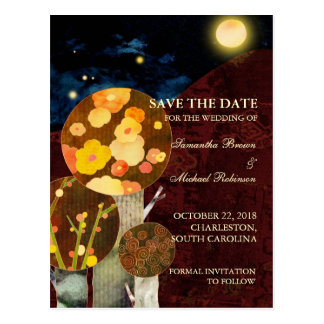 Whimsical Autumn Trees: Save the Date Postcards