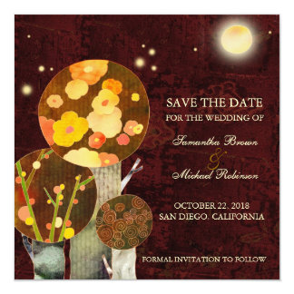 Whimsical Autumn Trees Wedding Save the Date 13 Cm X 13 Cm Square Invitation Card
