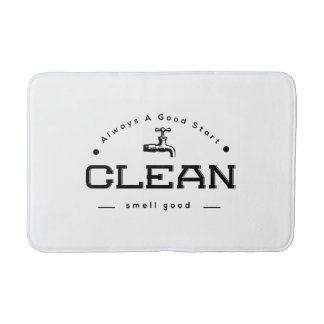 Whimsical bath mat with hipster logo style quote bath mats