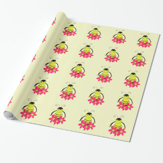 Whimsical Bee with Coral Flowers Wrapping Paper