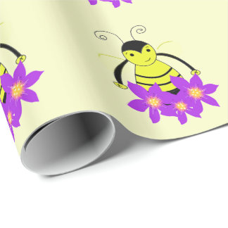 Whimsical Bee with Purple Flowers Wrapping Paper