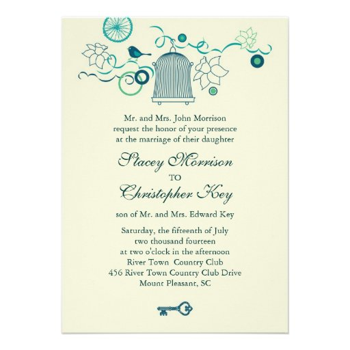 Whimsical Bird Cage Wedding Invitation
