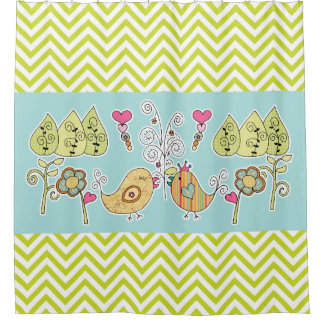 Whimsical Birds and Flowers Chevron Stripe Shower Curtain