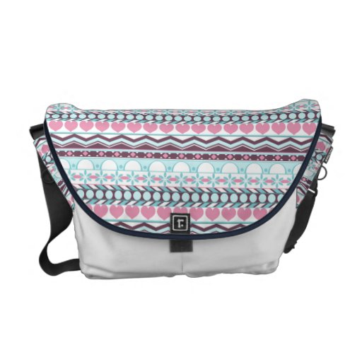 Whimsical Blue and pink striped aztec pattern Messenger Bag