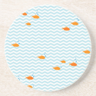 Whimsical Blue chevron with gold fish Beverage Coaster